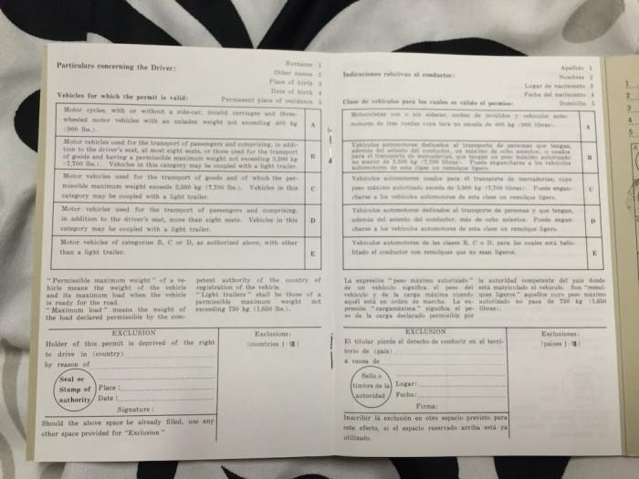 免許証が英文に訳されたページ